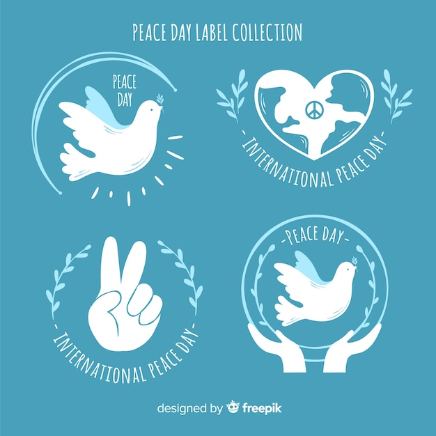 Label collection of peace signs and symbols Free Vector