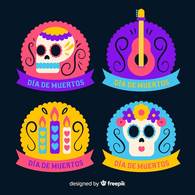 Label collection with ribbon for dia de muertos event Free Vector