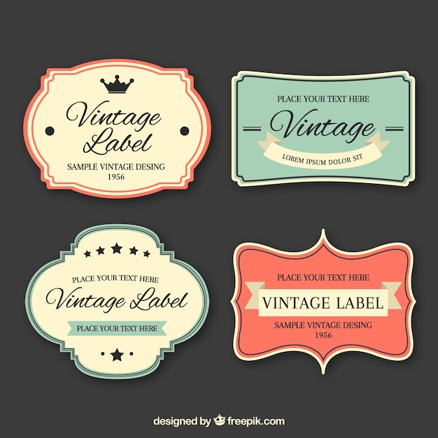 Label collection with vintage style Free Vector
