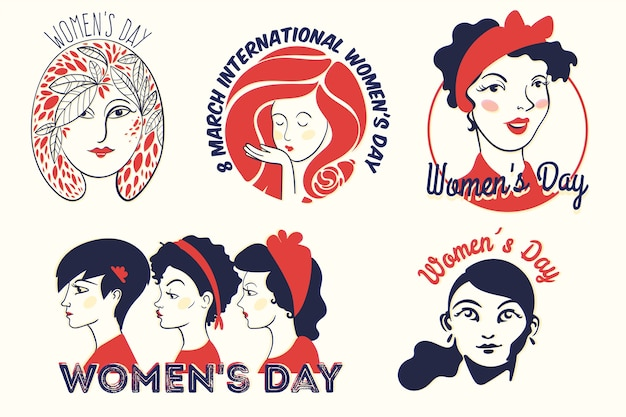 Label collection with womens day concept Free Vector