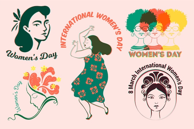 Label collection with womens day theme Free Vector