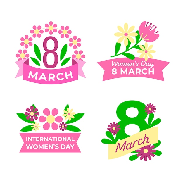 Label collection for women's day with pink ribbon and flowers Free Vector