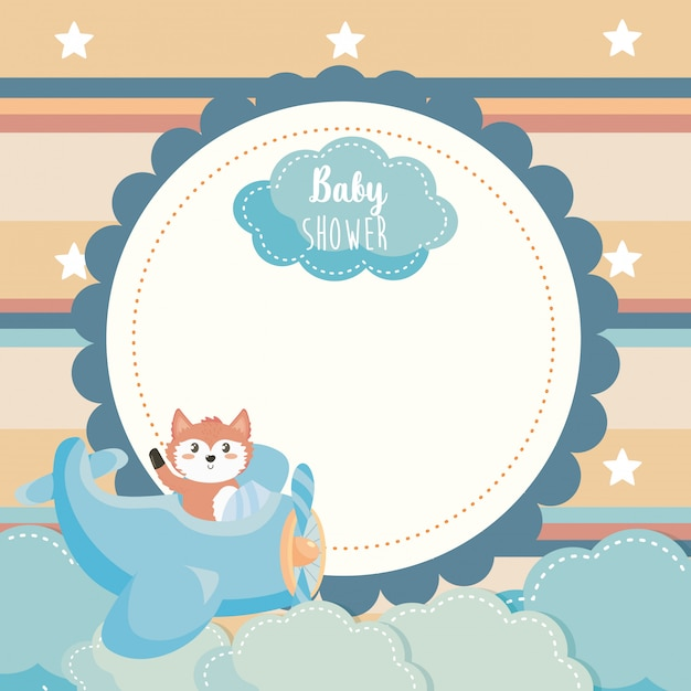 Label of cute fox in the cradle and clouds Free Vector