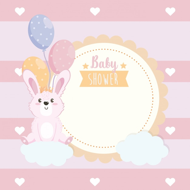 Label of cute rabbit animal with balloons and clouds Free Vector