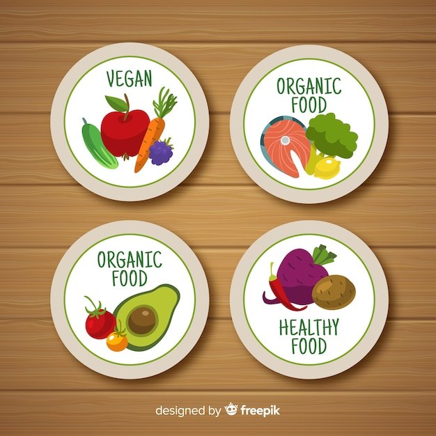 Label design for organic, vegetable, ecological, natural food Free Vector
