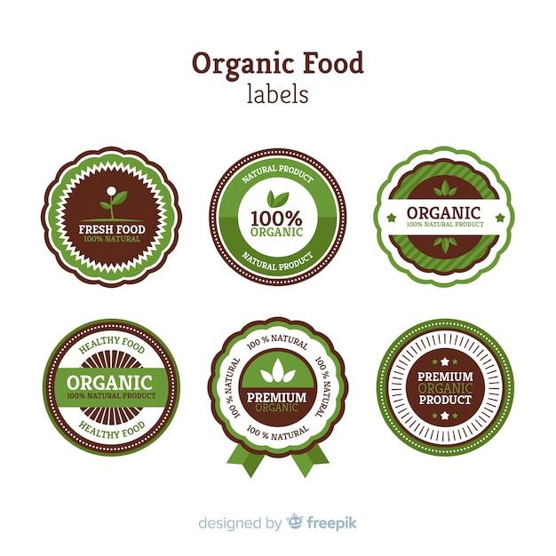 Label design for organic, vegetable, ecological, natural food Free Vector