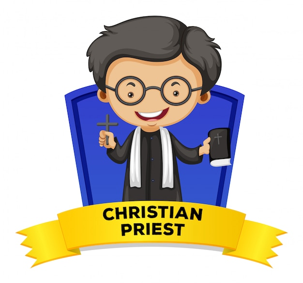 Label design with christian priest Free Vector