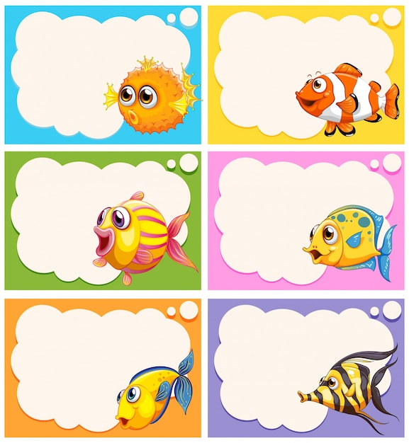 Boys Premium Name Labels: Label Design With Cute Fish Illustration Vector