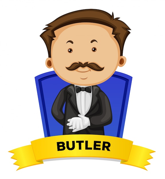Label design with male butler Free Vector