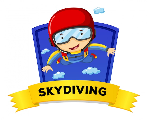 Label design with man doing skydiving Free Vector
