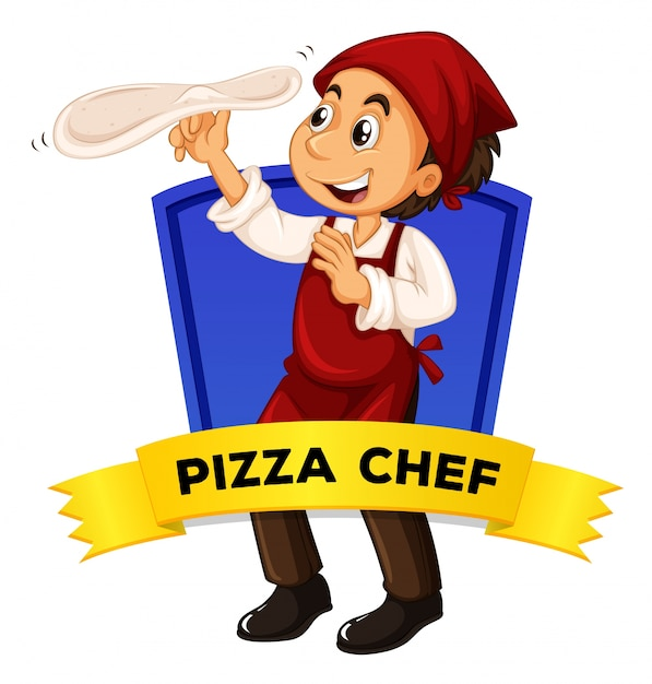 Label design with pizza chef Free Vector
