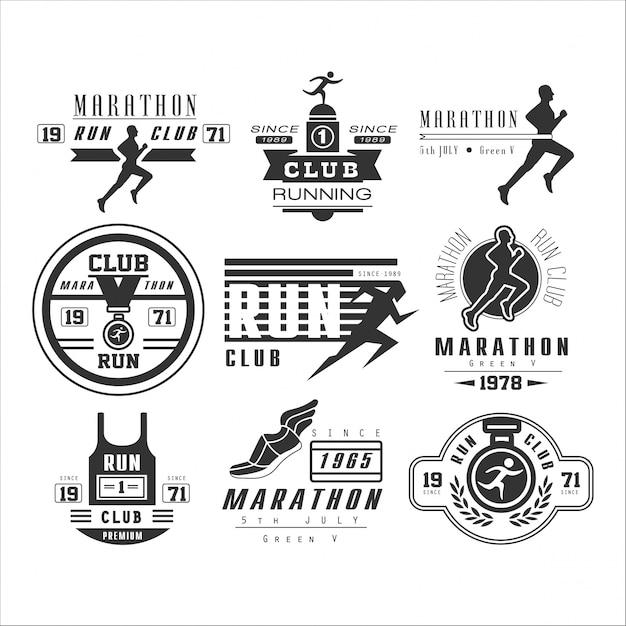 Этикетка, эмблема и логотипы бегущий клуб Premium векторы