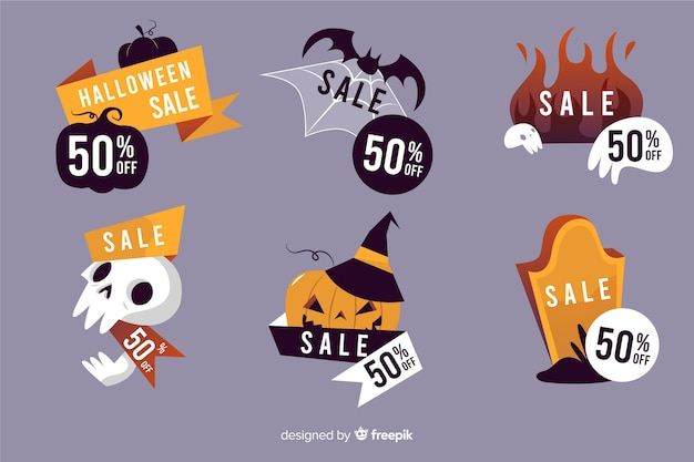 Label halloween collection hand drawn Free Vector