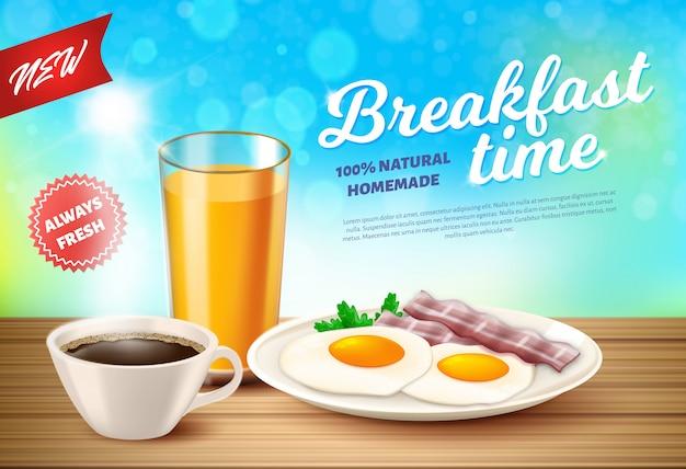 Label is written breakfast time vector realistic. Premium Vector