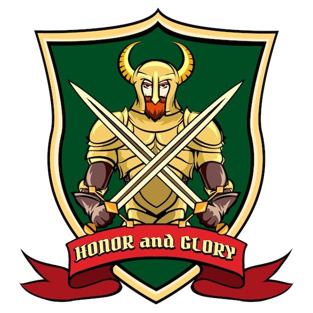 盾に馬が付いたヘルメットのラベル、ロゴ、またはエンブレムの戦士。ベクトルイラスト 無料ベクター