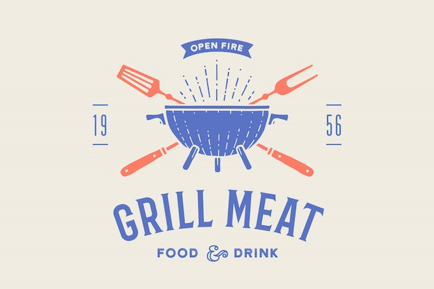Label or logo for restaurant. logo with grill, bbq or barbecue, grill fork, text grill meat, food and drink, open fire. graphic template logo of restaurant, bar, cafe, food court.  illustration Premium Vector