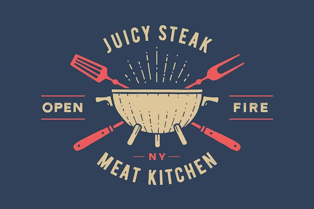 Label or logo for restaurant. logo with grill, bbq or barbecue Premium Vector