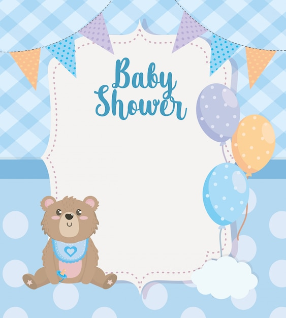 Label of party banner with teddy bear and balloons Free Vector
