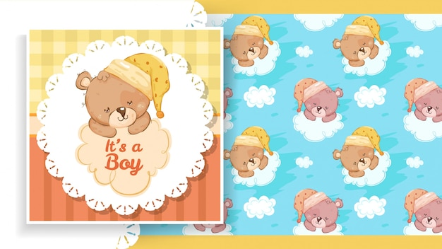 Label of party banner with teddy bear Premium Vector
