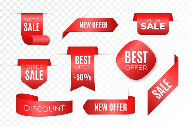 Label sales in different shapes collection Free Vector