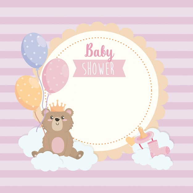 Label of teddy bear wearing crown with balloons and ribbon Free Vector