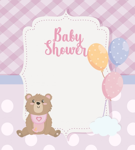 Label of teddy bear with balloons decoration Free Vector
