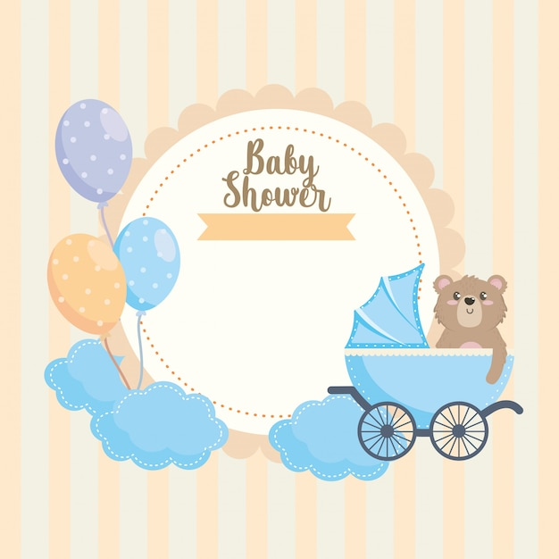 Label of teddy bear with carriage and balloons decoration Free Vector