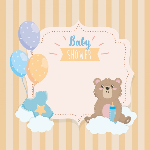 Label of teddy bear with feeding bottle and clouds Free Vector