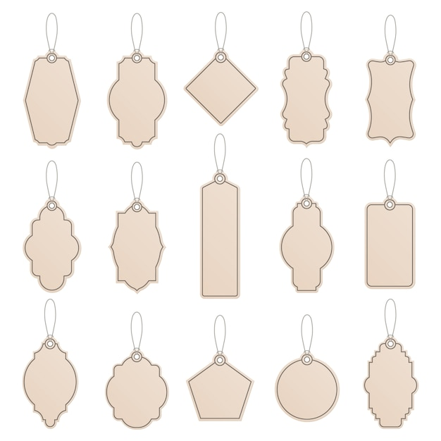 Label template. vintage paper tag labels, craft price tags, shop craft label templates, promotion production templates   icon set. illustration hang tag for price realistic with rope Premium Vector