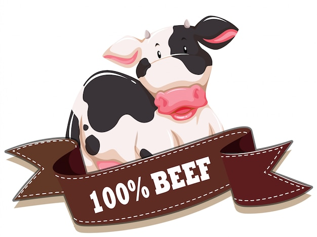 Label  with cow and ribbon Free Vector