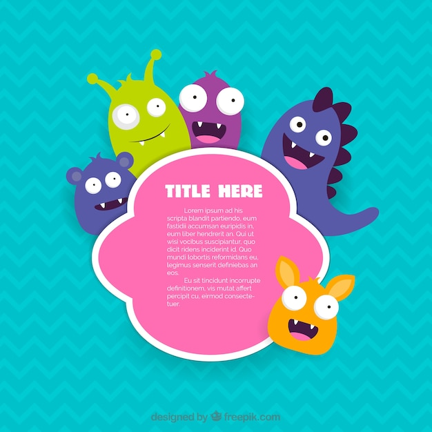 Label with cute monsters Free Vector