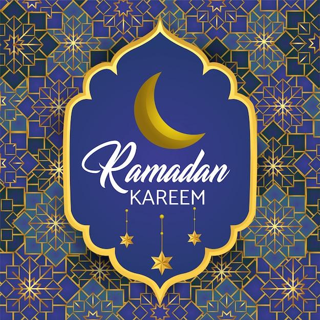 Label with moon and stars to ramadan kareem Free Vector