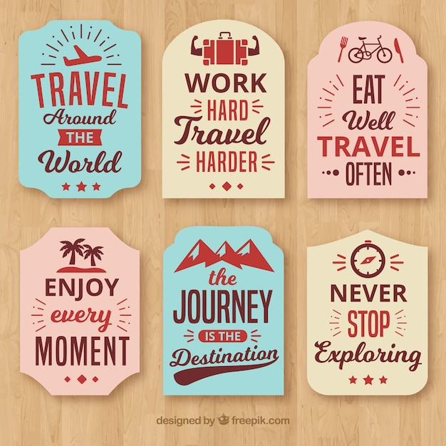Label with quote collection Free Vector