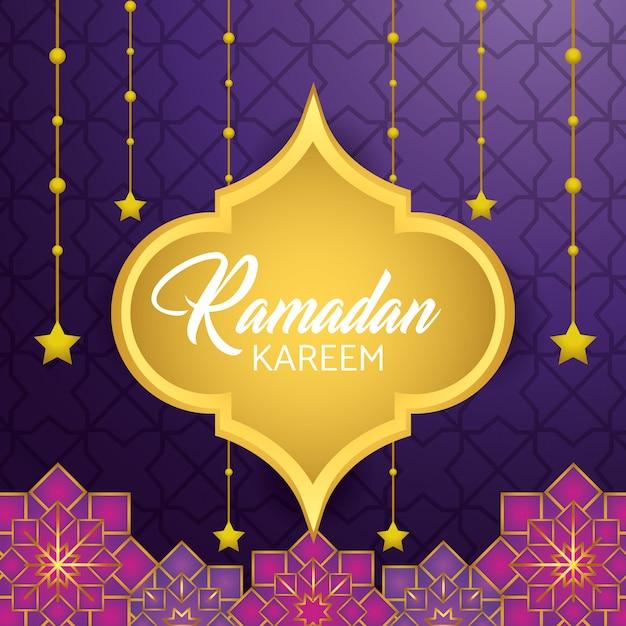 Label with stars hanging to ramadan kareem festival Free Vector