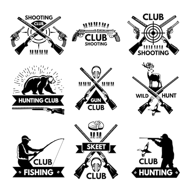 Labels and badges set for hunting club Premium Vector