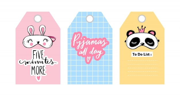 Labels, badges with eye masks and sleep lettering phrases. Premium Vector