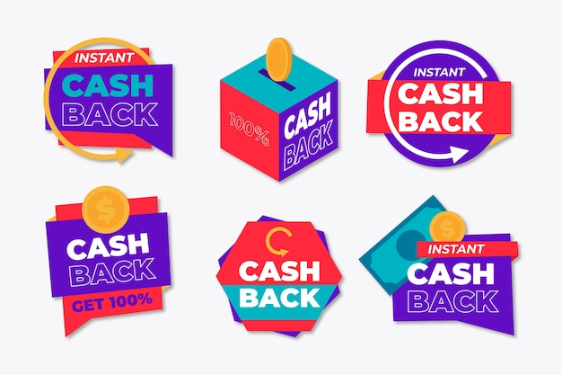Labels for cashback concept Free Vector
