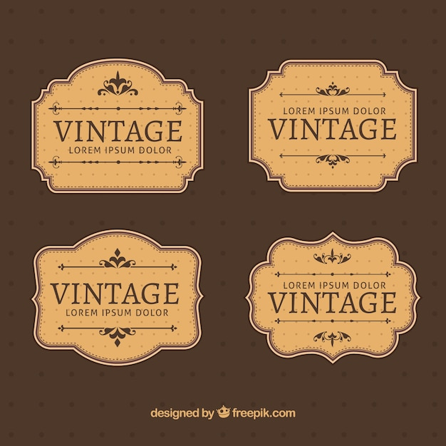 Labels collection in vintage style Free Vector
