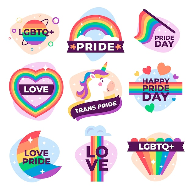 Labels design for pride day event Free Vector
