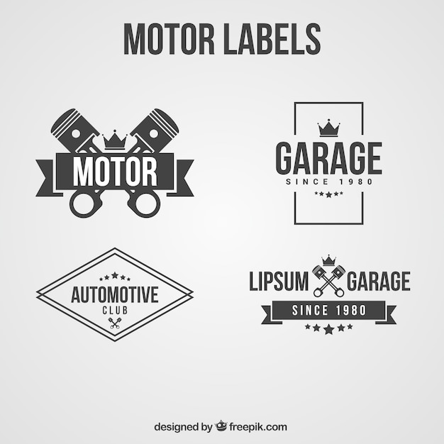 Labels in black and white for motorcycle\ club