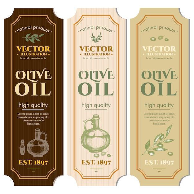 Labels olive oils template Premium Vector