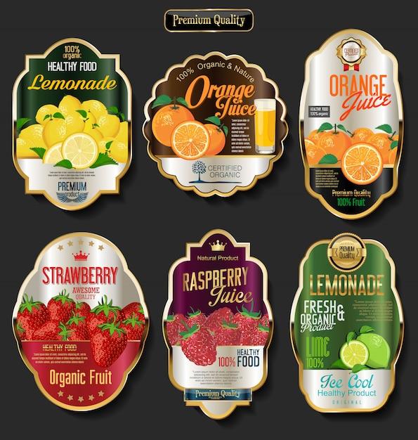 Labels for organic fruit Premium Vector