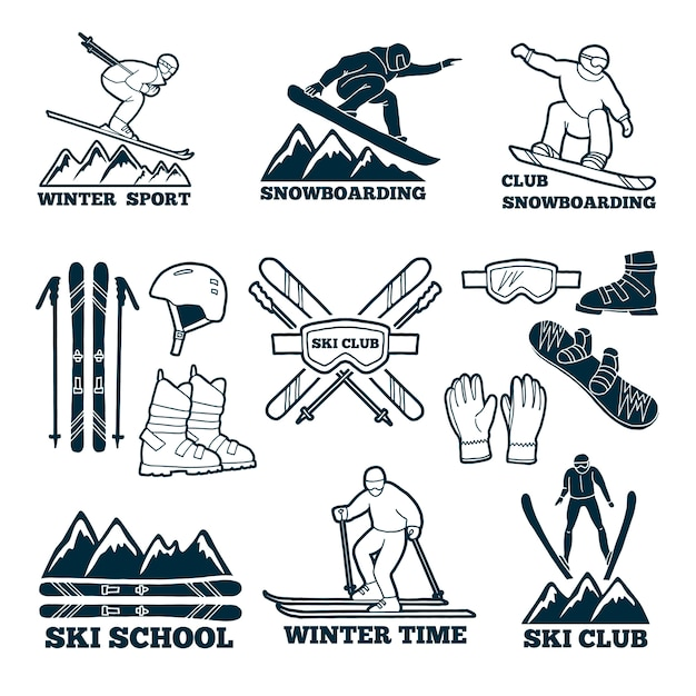 Labels set for club of skier. Premium Vector