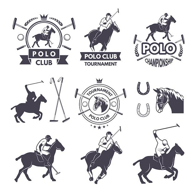 Labels set of sport competition for polo games Premium Vector