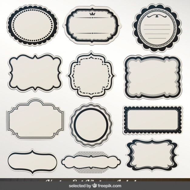 Labels with black outline collection Vector : Free Download : label outline : Custom Card Template