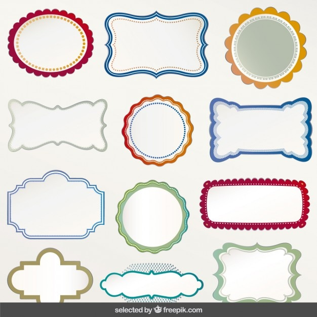 Labels With Colorful Outline Vector Free Download