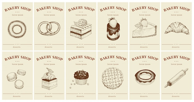 Labels with pastries and desserts. set templates price tags for bakery shop Premium Vector