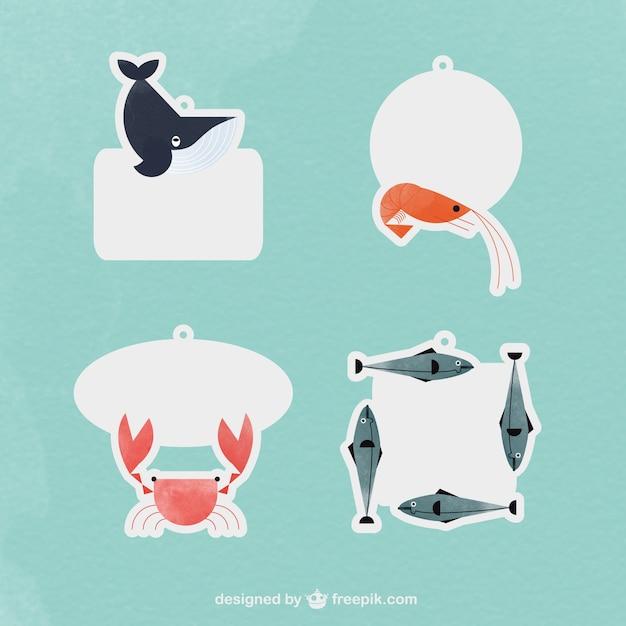 海の動物とラベル 無料ベクター