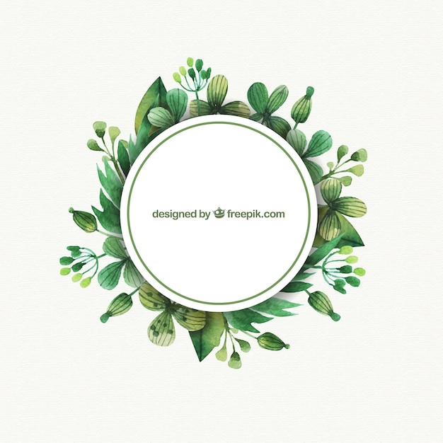 Labels with watercolor leaves Vector | Premium Download