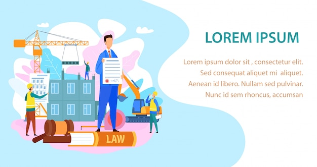 Labor and construction law landing page Premium Vector